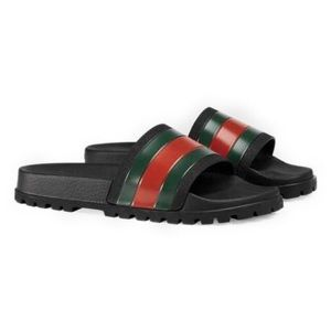 Gucci • Web Slide Sandals W/Dustbag.